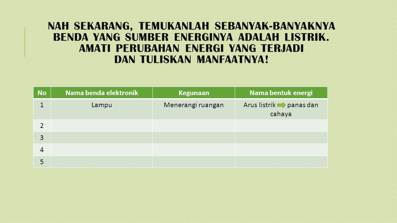 NAH SEKARANG, TEMUKANLAH SEBANYAK-BANYAKNYA BENDA YANG SUMBER ENERGINYA ADALAH LISTRIK. AMATI PERUBAHAN ENERGI YANG TERJADI DAN TULISKAN MANFAATNYA! N