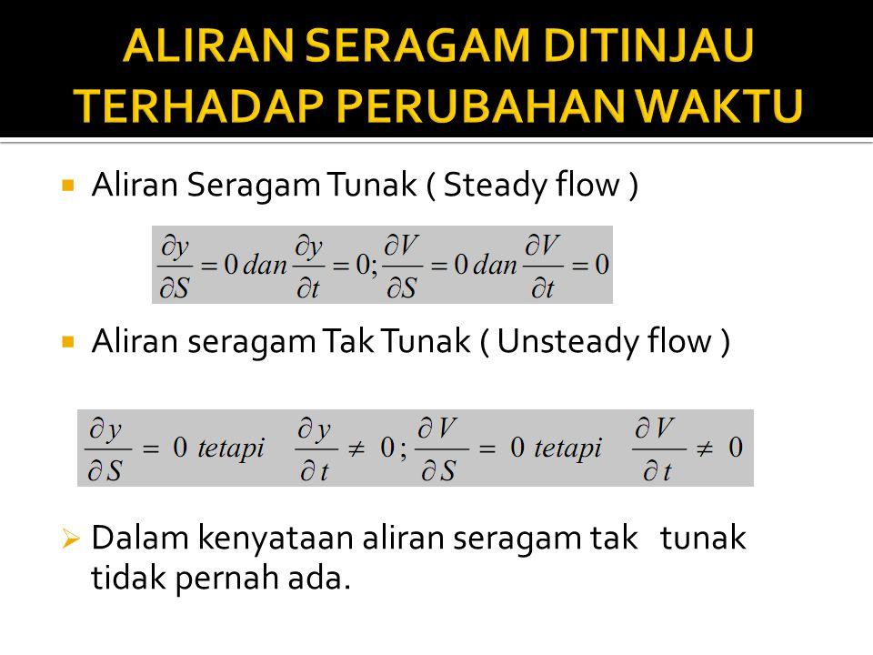  Aliran Seragam Tunak ( Steady flow )  Aliran seragam Tak Tunak ( Unsteady flow )  Dalam kenyataan aliran seragam tak tunak tidak pernah ada.