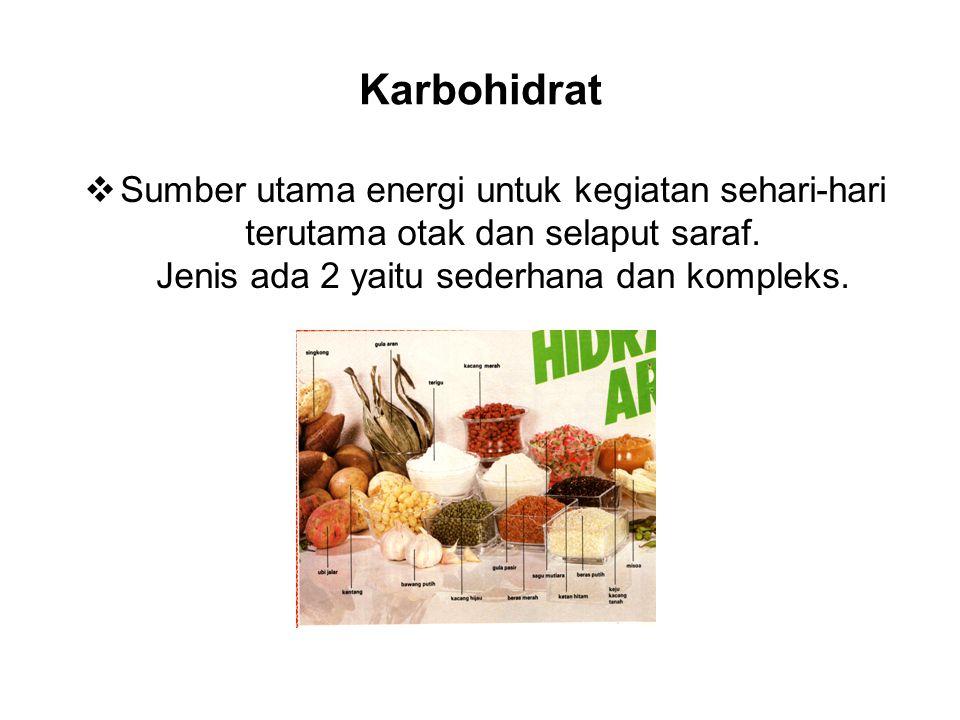 Karbohidrat  Sumber utama energi untuk kegiatan sehari-hari terutama otak dan selaput saraf.