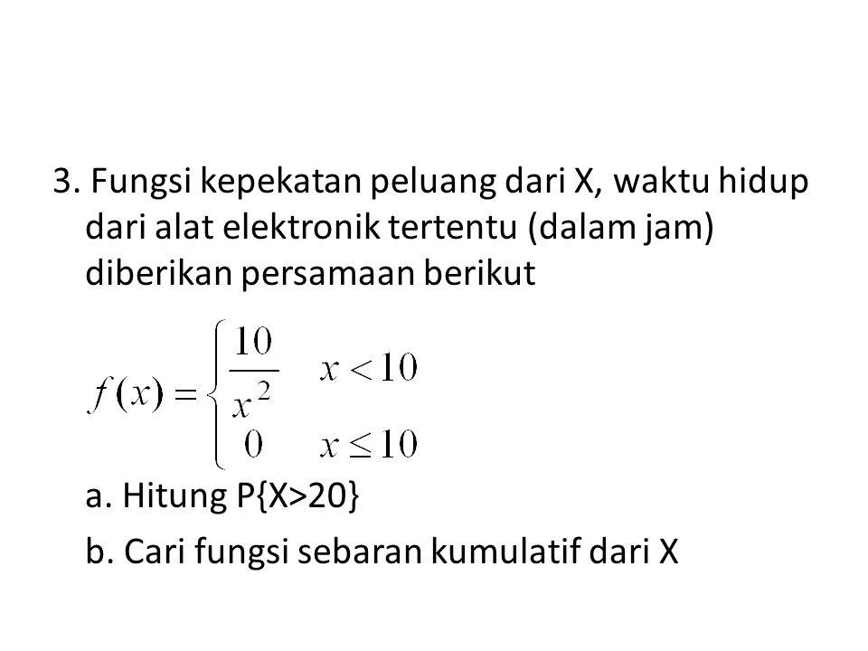 3. Fungsi kepekatan peluang dari X, waktu hidup dari alat elektronik tertentu (dalam jam) diberikan persamaan berikut a. Hitung P{X>20} b. Cari fungsi