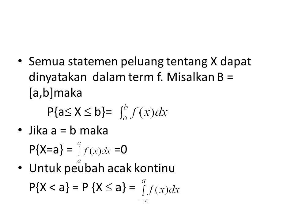 Semua statemen peluang tentang X dapat dinyatakan dalam term f. Misalkan B = [a,b]maka P{a  X  b}= Jika a = b maka P{X=a} = =0 Untuk peubah acak kon