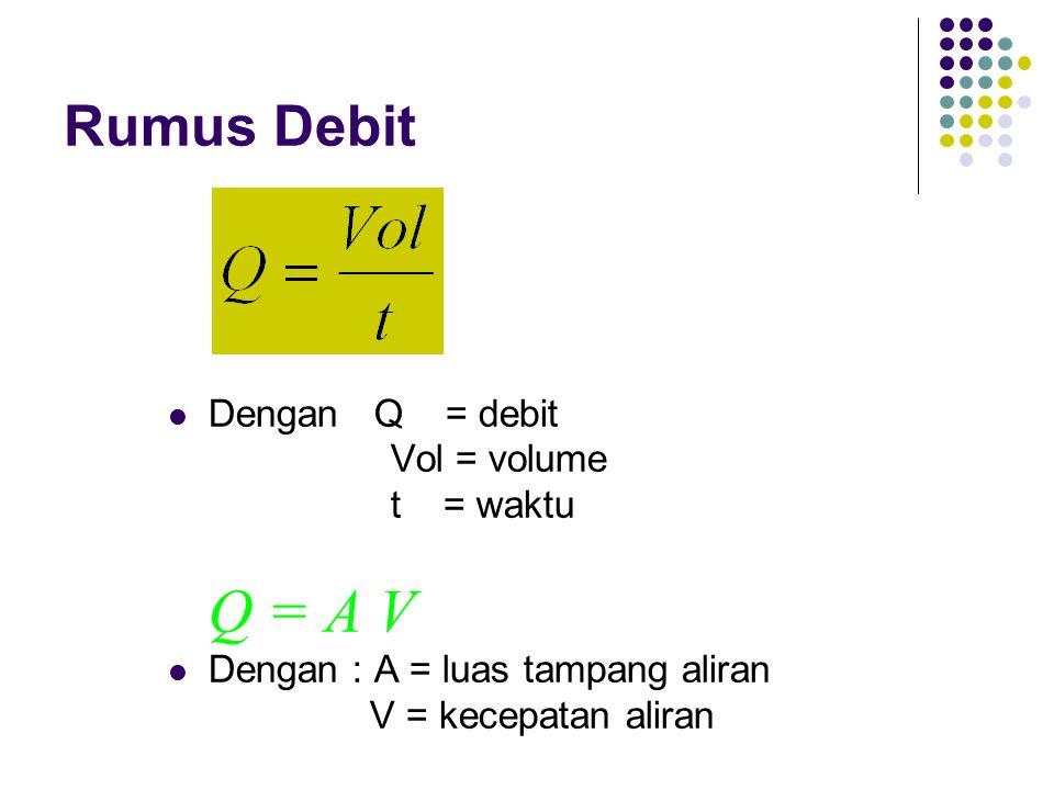 Rumus Debit Dengan Q = debit Vol = volume t = waktu Q = A V Dengan : A = luas tampang aliran V = kecepatan aliran
