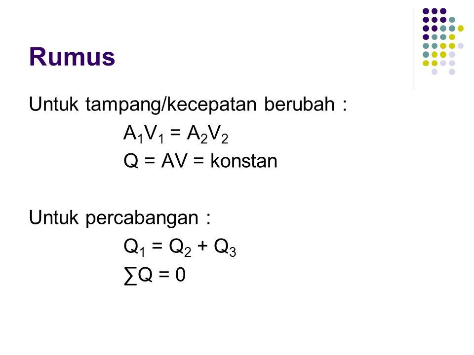 Rumus Untuk tampang/kecepatan berubah : A 1 V 1 = A 2 V 2 Q = AV = konstan Untuk percabangan : Q 1 = Q 2 + Q 3 ∑Q = 0