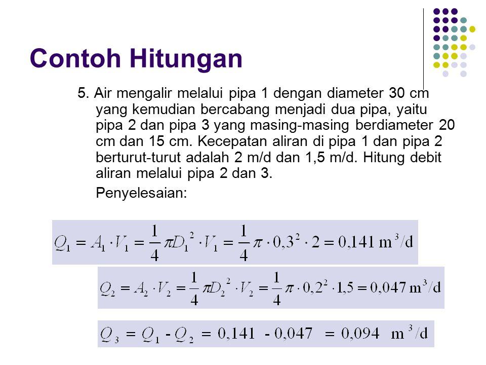 Contoh Hitungan 5. Air mengalir melalui pipa 1 dengan diameter 30 cm yang kemudian bercabang menjadi dua pipa, yaitu pipa 2 dan pipa 3 yang masing-mas