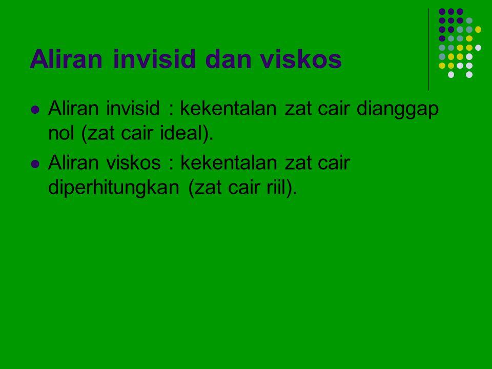 Aliran invisid dan viskos Aliran invisid : kekentalan zat cair dianggap nol (zat cair ideal). Aliran viskos : kekentalan zat cair diperhitungkan (zat
