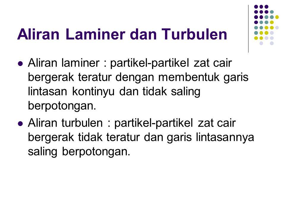Aliran Laminer dan Turbulen Aliran laminer : partikel-partikel zat cair bergerak teratur dengan membentuk garis lintasan kontinyu dan tidak saling ber