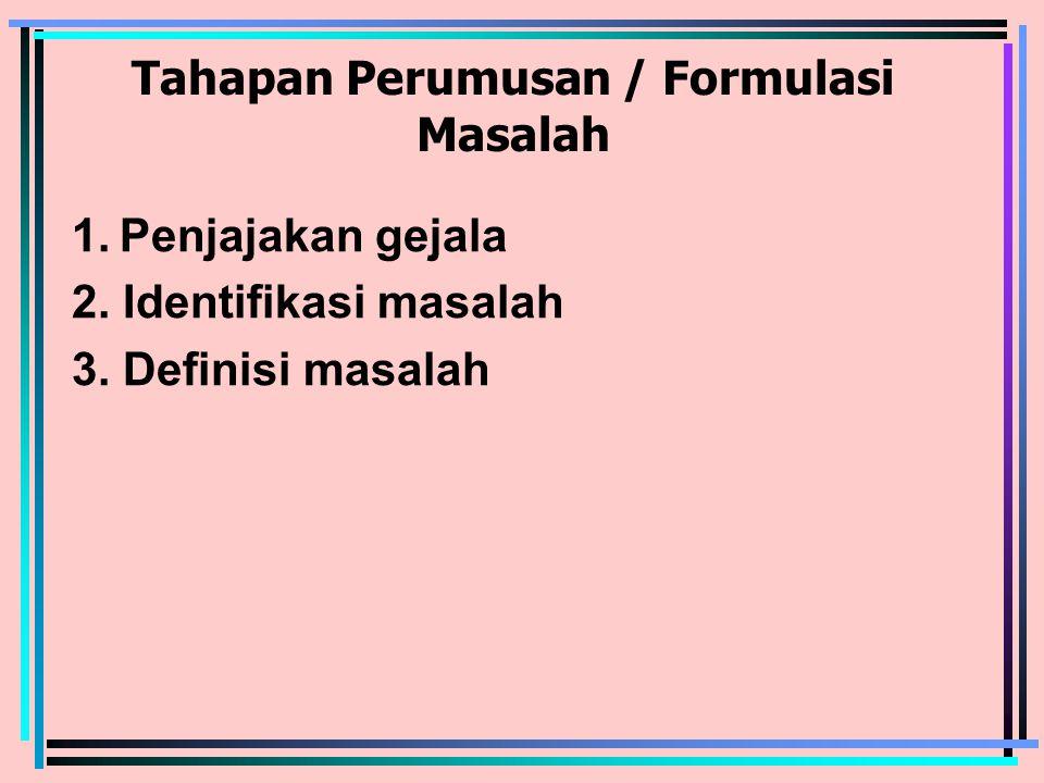 Tahapan Perumusan / Formulasi Masalah 1. Penjajakan gejala 2.