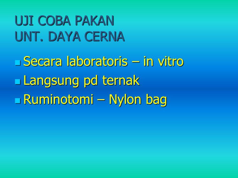UJI COBA PAKAN UNT. DAYA CERNA Secara laboratoris – in vitro Secara laboratoris – in vitro Langsung pd ternak Langsung pd ternak Ruminotomi – Nylon ba