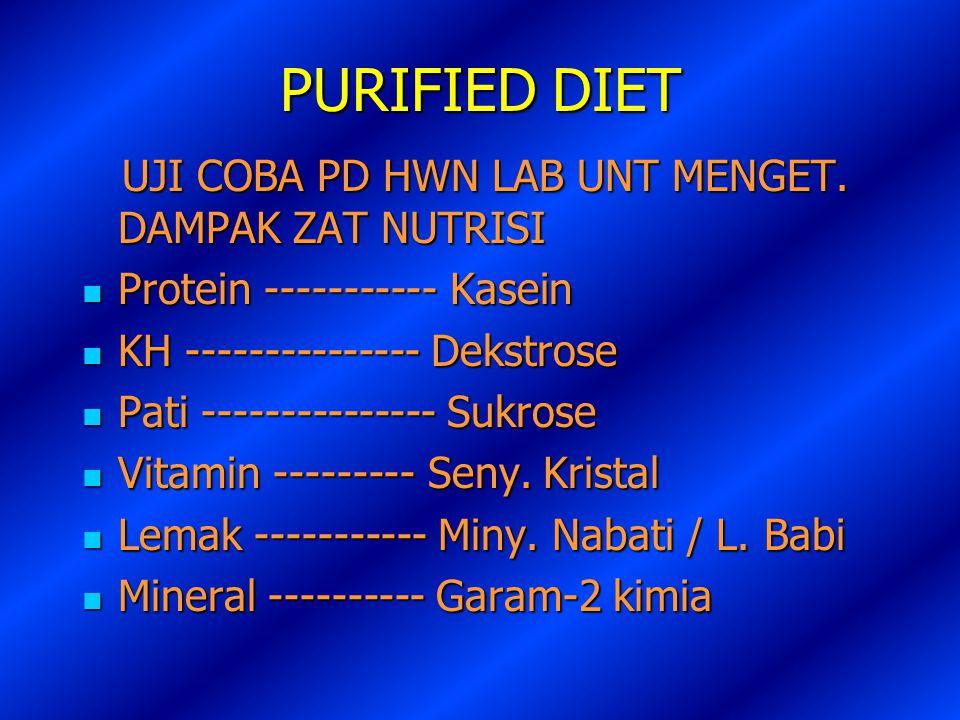 PURIFIED DIET UJI COBA PD HWN LAB UNT MENGET. DAMPAK ZAT NUTRISI UJI COBA PD HWN LAB UNT MENGET. DAMPAK ZAT NUTRISI Protein ----------- Kasein Protein