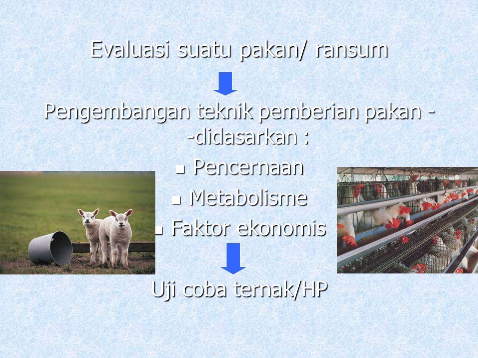 Respon awal percobaan pakan diketahui berdasarkan : Palatabilitas Konsumsi pakan Produksi (BB, Telur, Susu) Daya cerna Konversi pakan Faktor ekonomis