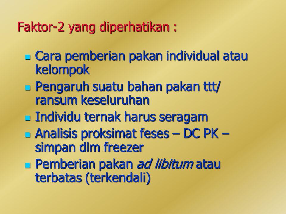 Faktor-2 yang diperhatikan : Cara pemberian pakan individual atau kelompok Cara pemberian pakan individual atau kelompok Pengaruh suatu bahan pakan ttt/ ransum keseluruhan Pengaruh suatu bahan pakan ttt/ ransum keseluruhan Individu ternak harus seragam Individu ternak harus seragam Analisis proksimat feses – DC PK – simpan dlm freezer Analisis proksimat feses – DC PK – simpan dlm freezer Pemberian pakan ad libitum atau terbatas (terkendali) Pemberian pakan ad libitum atau terbatas (terkendali)