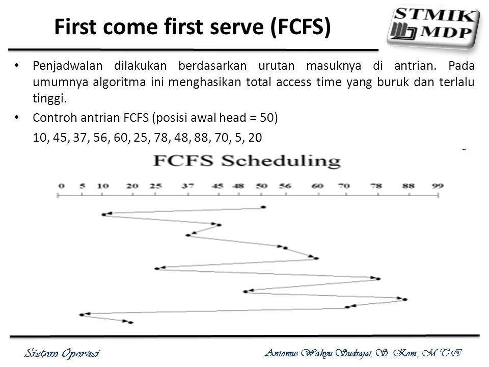 Sistem Operasi Antonius Wahyu Sudrajat, S. Kom., M.T.I First come first serve (FCFS) Penjadwalan dilakukan berdasarkan urutan masuknya di antrian. Pad