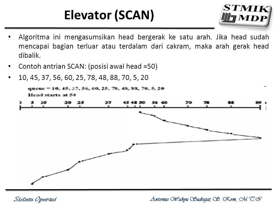 Sistem Operasi Antonius Wahyu Sudrajat, S. Kom., M.T.I Elevator (SCAN) Algoritma ini mengasumsikan head bergerak ke satu arah. Jika head sudah mencapa