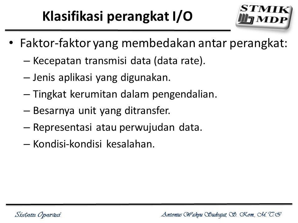 Sistem Operasi Antonius Wahyu Sudrajat, S. Kom., M.T.I Klasifikasi perangkat I/O Faktor-faktor yang membedakan antar perangkat: – Kecepatan transmisi