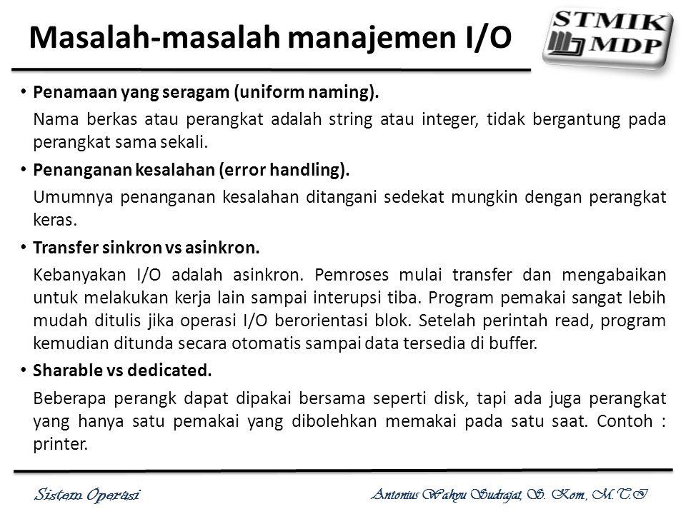 Sistem Operasi Antonius Wahyu Sudrajat, S. Kom., M.T.I Masalah-masalah manajemen I/O Penamaan yang seragam (uniform naming). Nama berkas atau perangka