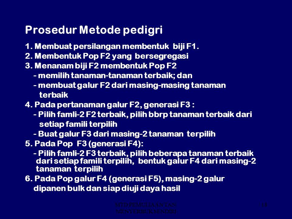 MTD PEMULIAAN TAN. MENYERBUK SENDIRI 18 Prosedur Metode pedigri 1. Membuat persilangan membentuk biji F1. 2. Membentuk Pop F2 yang bersegregasi 3. Men
