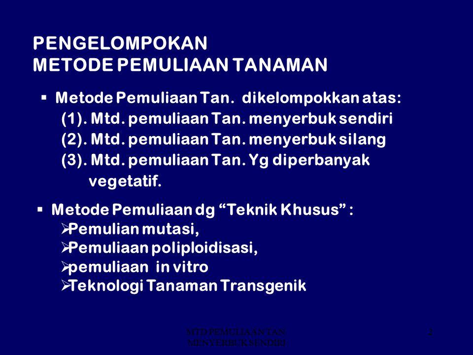 MTD PEMULIAAN TAN. MENYERBUK SENDIRI 2 PENGELOMPOKAN METODE PEMULIAAN TANAMAN  Metode Pemuliaan Tan. dikelompokkan atas: (1). Mtd. pemuliaan Tan. men