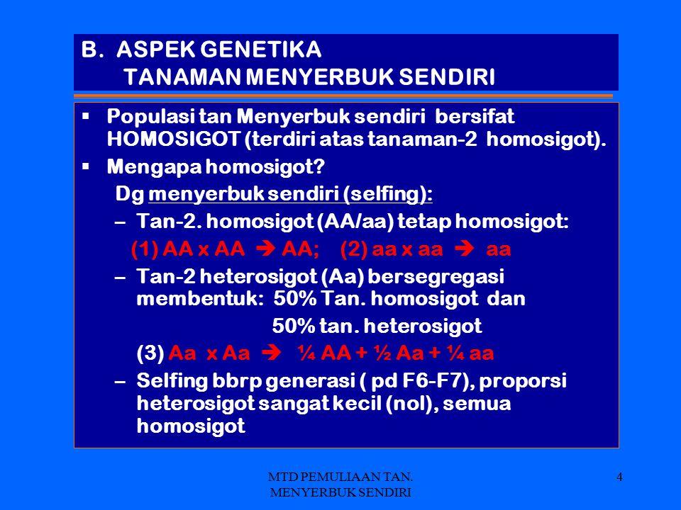 MTD PEMULIAAN TAN. MENYERBUK SENDIRI 4 B. ASPEK GENETIKA TANAMAN MENYERBUK SENDIRI  Populasi tan Menyerbuk sendiri bersifat HOMOSIGOT (terdiri atas t