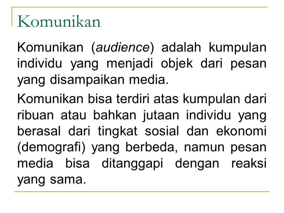 Komunikan Komunikan (audience) adalah kumpulan individu yang menjadi objek dari pesan yang disampaikan media. Komunikan bisa terdiri atas kumpulan dar