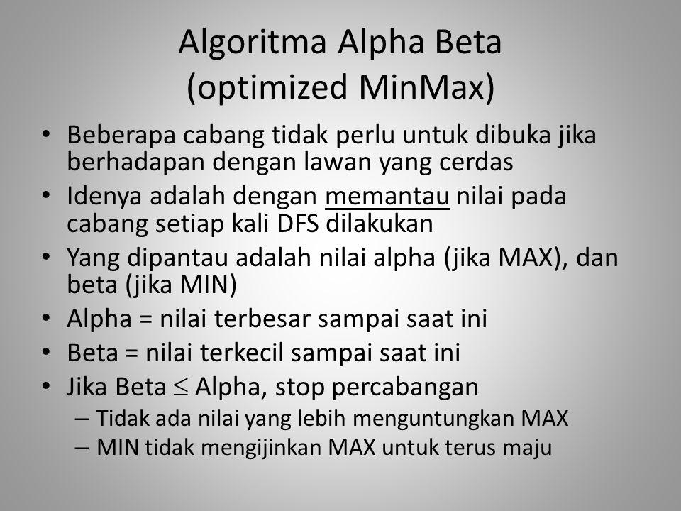 Algoritma Alpha Beta (optimized MinMax) Beberapa cabang tidak perlu untuk dibuka jika berhadapan dengan lawan yang cerdas Idenya adalah dengan memantau nilai pada cabang setiap kali DFS dilakukan Yang dipantau adalah nilai alpha (jika MAX), dan beta (jika MIN) Alpha = nilai terbesar sampai saat ini Beta = nilai terkecil sampai saat ini Jika Beta  Alpha, stop percabangan – Tidak ada nilai yang lebih menguntungkan MAX – MIN tidak mengijinkan MAX untuk terus maju