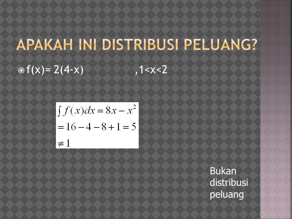  f(x)= 2(4-x),1<x<2 Bukan distribusi peluang