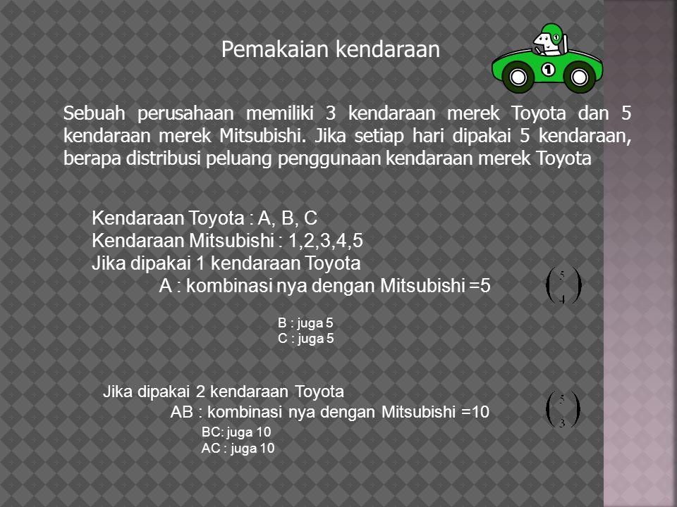 Pemakaian kendaraan Sebuah perusahaan memiliki 3 kendaraan merek Toyota dan 5 kendaraan merek Mitsubishi. Jika setiap hari dipakai 5 kendaraan, berapa