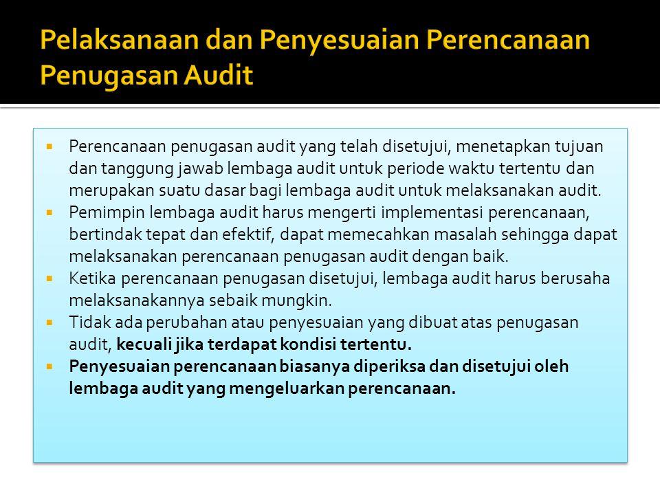  Perencanaan penugasan audit yang telah disetujui, menetapkan tujuan dan tanggung jawab lembaga audit untuk periode waktu tertentu dan merupakan suat