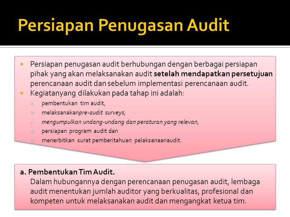  Persiapan penugasan audit berhubungan dengan berbagai persiapan pihak yang akan melaksanakan audit setelah mendapatkan persetujuan perencanaan audit