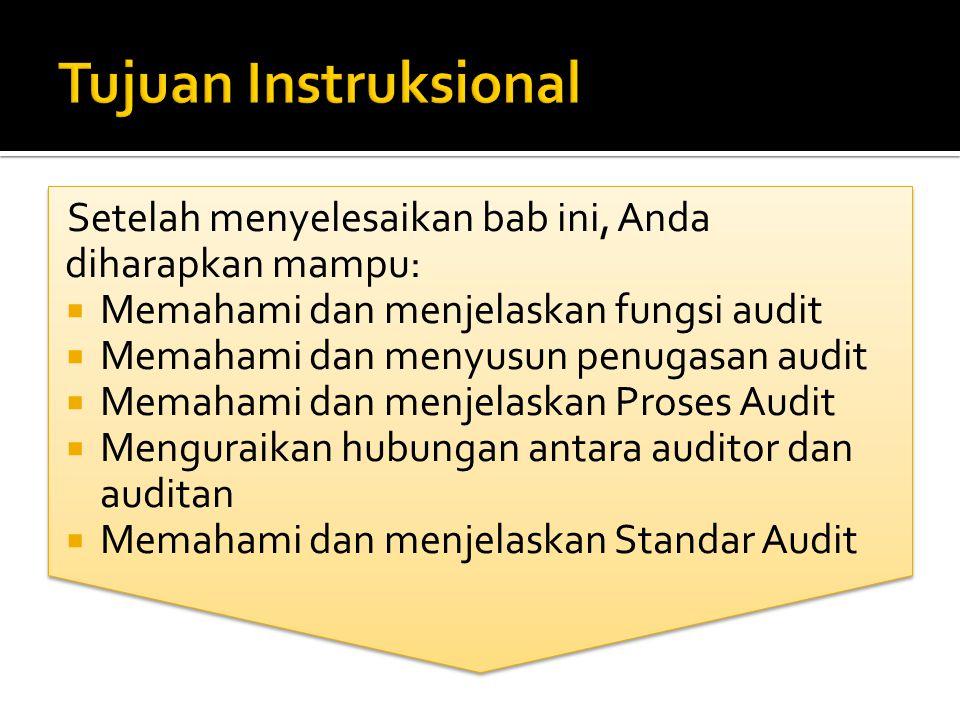 Setelah menyelesaikan bab ini, Anda diharapkan mampu:  Memahami dan menjelaskan fungsi audit  Memahami dan menyusun penugasan audit  Memahami dan m