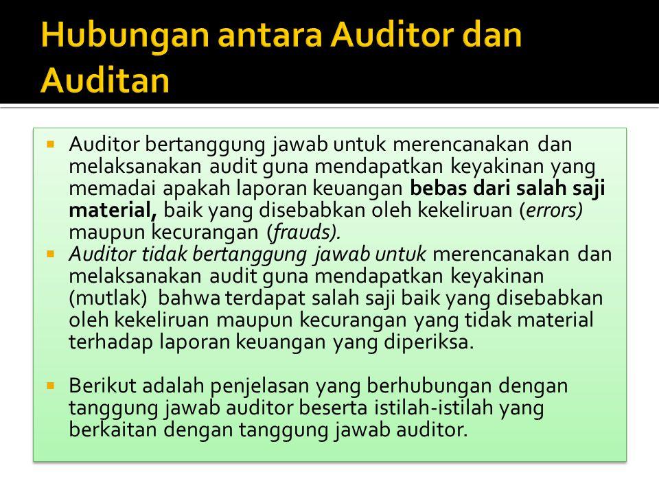  Auditor bertanggung jawab untuk merencanakan dan melaksanakan audit guna mendapatkan keyakinan yang memadai apakah laporan keuangan bebas dari salah