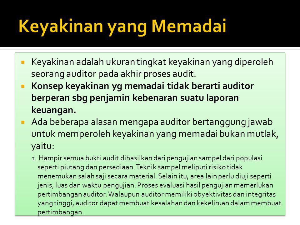  Keyakinan adalah ukuran tingkat keyakinan yang diperoleh seorang auditor pada akhir proses audit.  Konsep keyakinan yg memadai tidak berarti audito