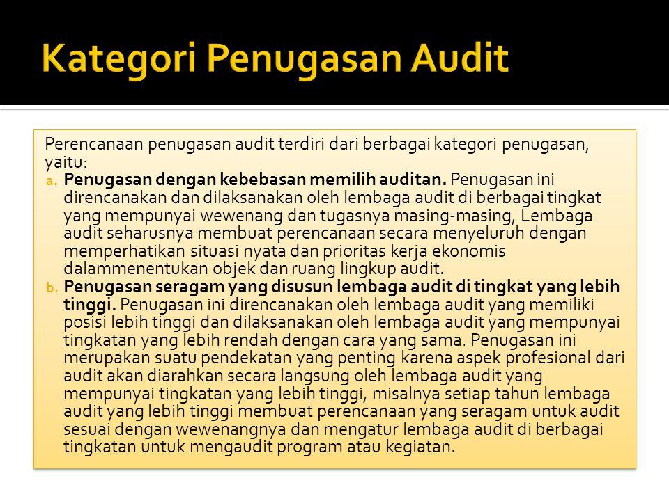 Perencanaan penugasan audit terdiri dari berbagai kategori penugasan, yaitu: a. Penugasan dengan kebebasan memilih auditan. Penugasan ini direncanakan