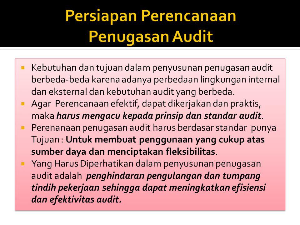 Landasan penyusunan penugasan audit adalah:  undang-undang dan peraturan pemerintah,  perencanaan pembangunan nasional baik ekonomi maupun sosial,  kebijakan pemerintah di bidang ekonomi dan keuangan,  perencanaan audit jangka panjang,  prinsip prinsip audit,  kebijakan dan tugas yang diberikan oleh lembaga audit yang posisinya lebih tinggi,  pekerjaan yang dipersyaratkan oleh pemerintah,  informasi tentang penugasan audit di tahun yang lalu, dan sebagainya.
