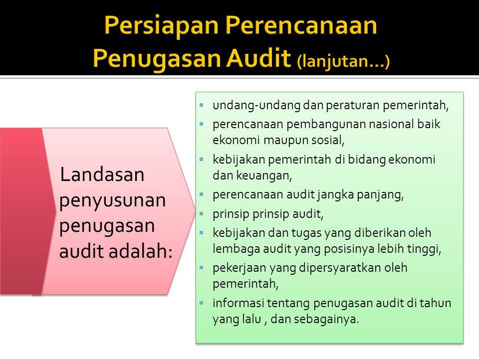 Landasan penyusunan penugasan audit adalah:  undang-undang dan peraturan pemerintah,  perencanaan pembangunan nasional baik ekonomi maupun sosial, 