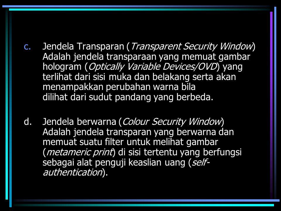 c.Jendela Transparan (Transparent Security Window) Adalah jendela transparaan yang memuat gambar hologram (Optically Variable Devices/OVD) yang terlih