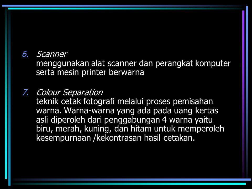 6.Scanner menggunakan alat scanner dan perangkat komputer serta mesin printer berwarna 7.Colour Separation teknik cetak fotografi melalui proses pemis