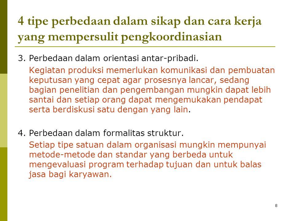 8 4 tipe perbedaan dalam sikap dan cara kerja yang mempersulit pengkoordinasian 3.
