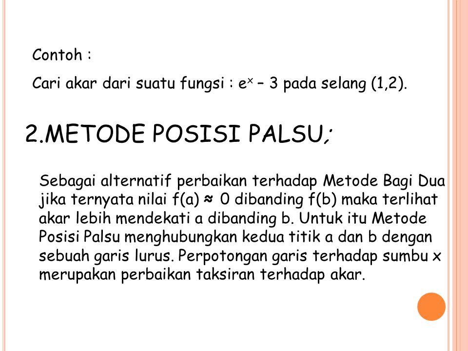 Contoh : Cari akar dari suatu fungsi : e x – 3 pada selang (1,2). 2.METODE POSISI PALSU; Sebagai alternatif perbaikan terhadap Metode Bagi Dua jika te