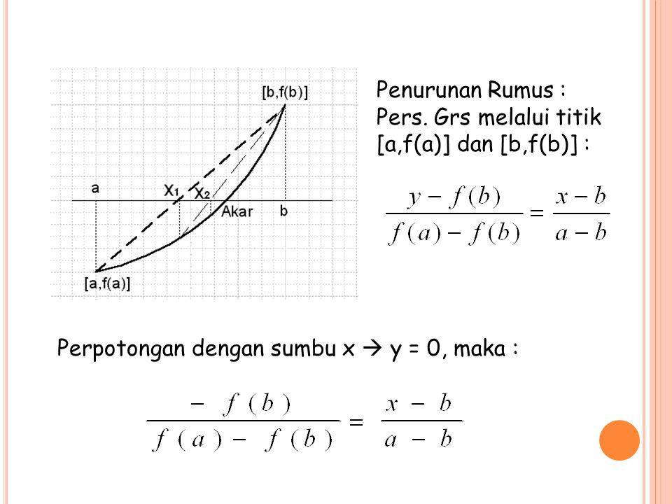 Penurunan Rumus : Pers. Grs melalui titik [a,f(a)] dan [b,f(b)] : Perpotongan dengan sumbu x  y = 0, maka :