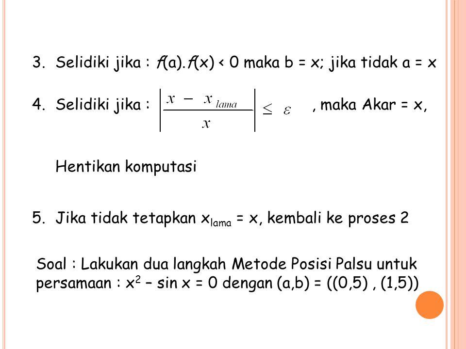 3.Selidiki jika : f(a).f(x) < 0 maka b = x; jika tidak a = x 4.Selidiki jika :, maka Akar = x, Hentikan komputasi 5.Jika tidak tetapkan x lama = x, ke