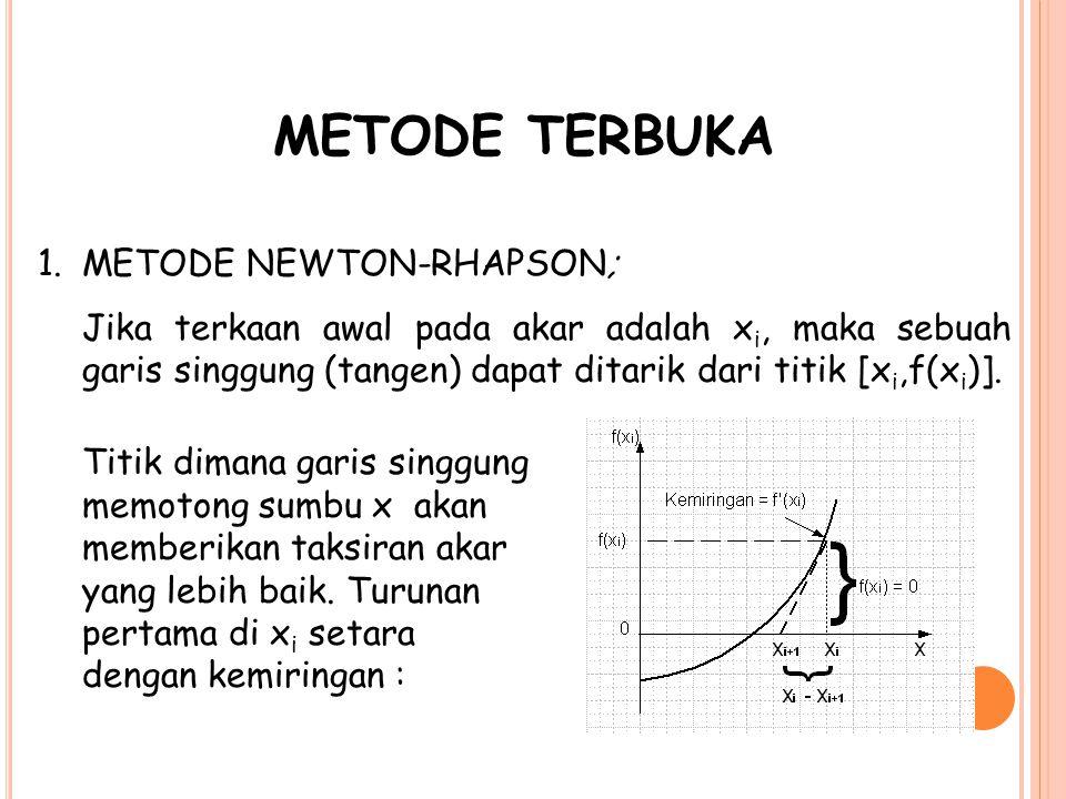 METODE TERBUKA 1.METODE NEWTON-RHAPSON; Jika terkaan awal pada akar adalah x i, maka sebuah garis singgung (tangen) dapat ditarik dari titik [x i,f(x