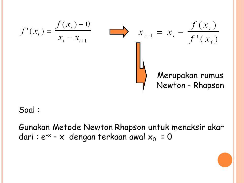 Merupakan rumus Newton - Rhapson Soal : Gunakan Metode Newton Rhapson untuk menaksir akar dari : e -x – x dengan terkaan awal x 0 = 0