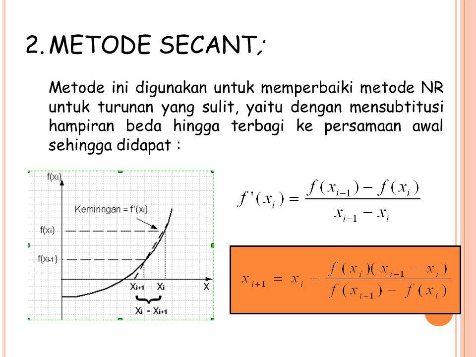 2.METODE SECANT; Metode ini digunakan untuk memperbaiki metode NR untuk turunan yang sulit, yaitu dengan mensubtitusi hampiran beda hingga terbagi ke