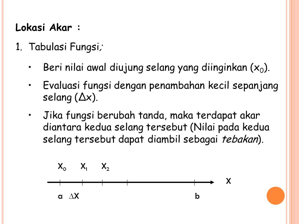 Lokasi Akar : 1. Tabulasi Fungsi; Beri nilai awal diujung selang yang diinginkan (x 0 ). Evaluasi fungsi dengan penambahan kecil sepanjang selang (Δx)