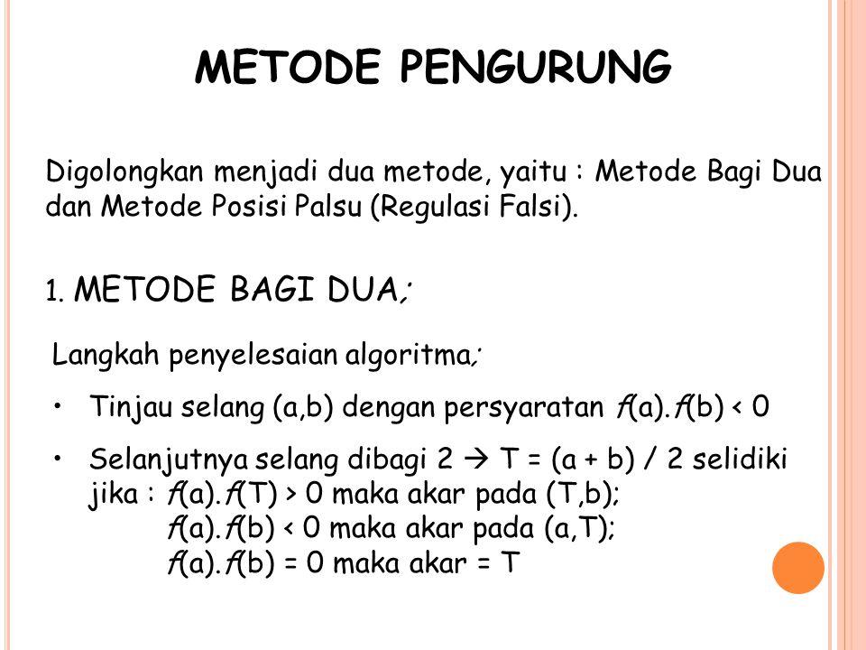 METODE PENGURUNG Digolongkan menjadi dua metode, yaitu : Metode Bagi Dua dan Metode Posisi Palsu (Regulasi Falsi). 1. METODE BAGI DUA; Langkah penyele