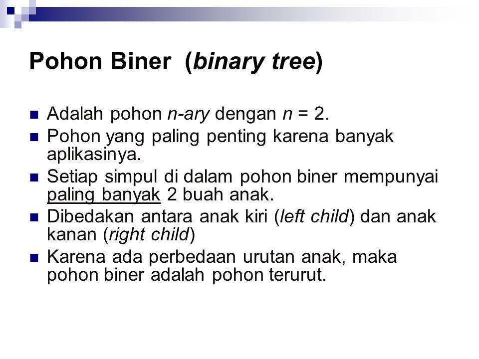 Pohon Biner (binary tree) Adalah pohon n-ary dengan n = 2. Pohon yang paling penting karena banyak aplikasinya. Setiap simpul di dalam pohon biner mem
