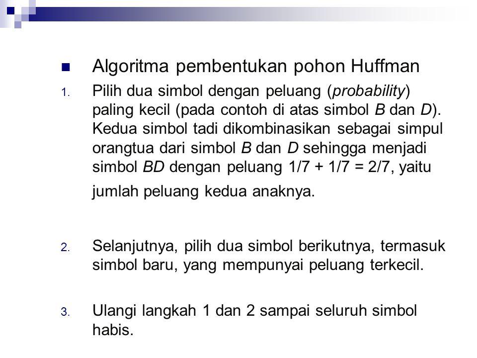 Algoritma pembentukan pohon Huffman 1. Pilih dua simbol dengan peluang (probability) paling kecil (pada contoh di atas simbol B dan D). Kedua simbol t