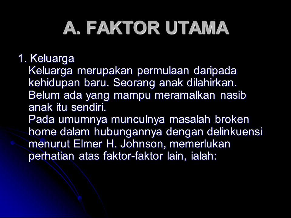 A. FAKTOR UTAMA 1. Keluarga Keluarga merupakan permulaan daripada kehidupan baru. Seorang anak dilahirkan. Belum ada yang mampu meramalkan nasib anak