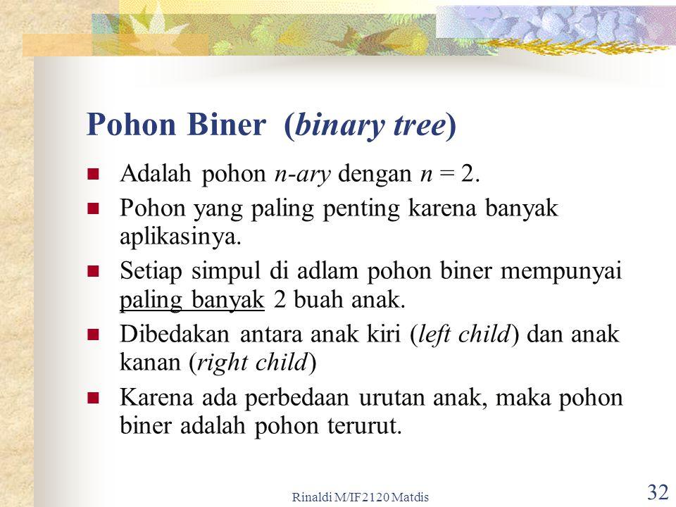 Rinaldi M/IF2120 Matdis 32 Pohon Biner (binary tree) Adalah pohon n-ary dengan n = 2. Pohon yang paling penting karena banyak aplikasinya. Setiap simp
