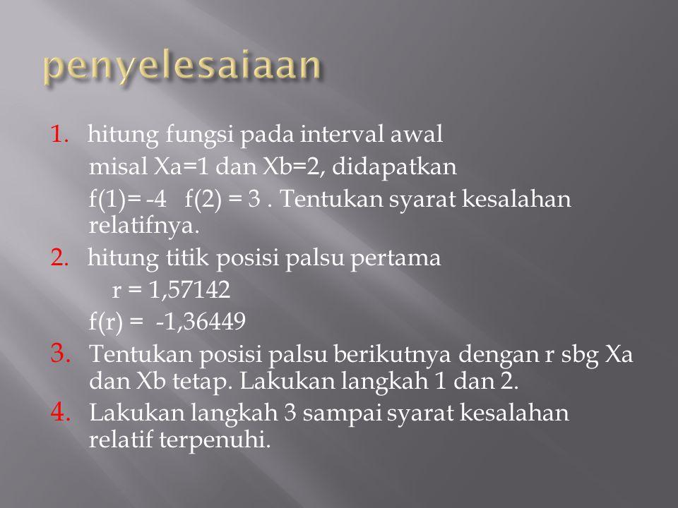 syms x; f=input( masukkan persamaan f(x): ); a=input( masukkan nilai a : ); b=input( masukkan nilai b : ); et=input( masukkan Error Toleransi : ); e=abs(b-a)/b; i=1; disp( i a b c f(a) f(b) f(c) E ); disp( ---------------------------------------------- ------------ ); clama=a; cbaru=b; while (e > et ) & (clama ~= cbaru); fa=subs(f,x,a); fb=subs(f,x,b); %c=(a+b)/2; clama=cbaru; c=(fb*a-fa*b)/(fb-fa); cbaru=c; fc= subs(f,x,c); fprintf( %3.0f %6.4f %6.4f %12.10f %7.4f %7.4f %7.4f %7.4f \n , i, a, b, c, fa, fb, fc, e); if fa*fc < 0 b=c; %geser kiri else a=c; %geser kanan end e=abs(cbaru-clama)/clama; % menghitung error i=i+1; end